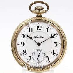 10k Gold 1911 Hamilton 21 Ruby Jewel 992 RAILROAD Grade Pocket Watch USA 16s