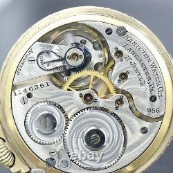 10k Gold 1915 HAMILTON 17 Jewel Grade 956 RR Style Pocket Watch Large 16s NICE