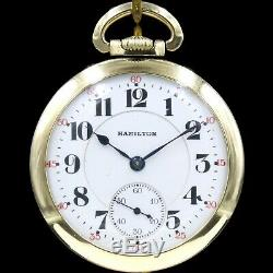 10k Gold 1922 Hamilton 21 Ruby Jewels 992 RAILROAD Grade Pocket Watch USA 16s