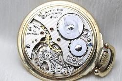 10k Gold HAMILTON 992B 21 Jewel Mechanical Pocket Watch OF 16s Railroad Grade