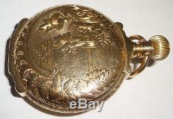 14K GOLD 18 size 143g BOX HINGE Hunter Case Hamilton 17j Pocket Watch RUNS NICE