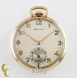 14K Yellow Gold Hamilton Antique Open Face Pocket Watch Gr 917 Size 10 17 Jewel
