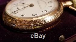 14k SOLID GOLD HAMILTON 17J 936 18s, 5 Pos. Adj. OF, RR Gr Pocket Watch, Ca. 1901