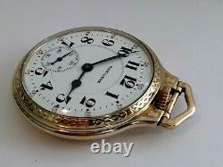 16sz Hamilton 950B RR Grade pocket watch, BOC 10k GF Case. Bakelite Box! Runs