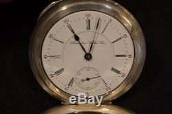 1894 Hamilton 938 Grade 18s 2 Star Pocket Watch w Sterling Silver Case & Chain