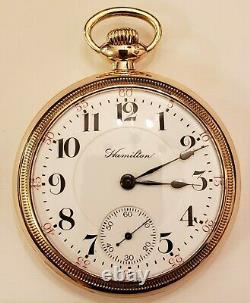 18S Hamilton 21J. Adj. Grade 940 Railroad Pocket Watch (1908) 10K. Gold filled
