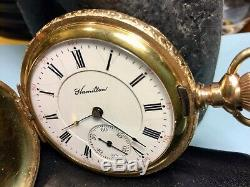 1901 Hamilton 971 16 Size PS 21 Jewel in Yellow Gold Filled Hunting Case