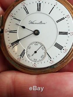 1903 Hamilton 18s Hunter pocket watch, GF, 17J 927 Adj, nice watch, runs