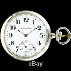1904 HAMILTON 17 Jewel Sidewinder RR Style Pocket Watch Large 16s Grade 975 NICE