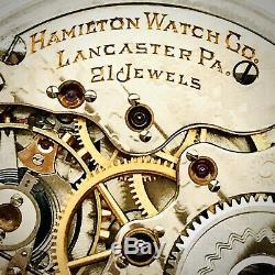 1905 Hamilton 992 16S 21J SS BOC Bar Over Crown Railroad Pocket Watch Runs