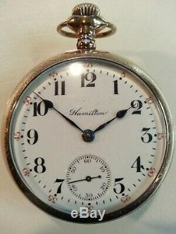 1910 Hamilton 18s, Salesman Glass Display Back Case. Recently Serviced, Running