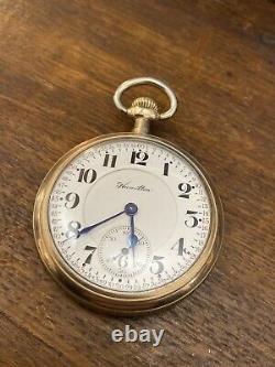 1913 Hamilton 972 Lancaster double roller Railroad pocket watch 17 Jewels