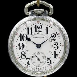 1923 HAMILTON 21 Jewel RR Style Pocket Watch 24 Hour Dial Grade 992 Silver Color