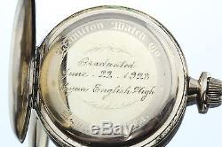 1923 Hamilton 17 Jewel Open Face Size 12 Gold Filled Pocket Watch