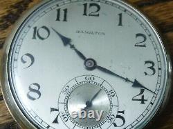 1928 Hamilton Pocket Watch-19J, 12S, grade 918-14K gold Filled case runs great