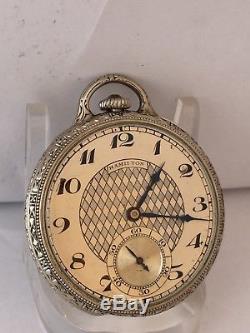 1933 Masonic Hamilton 904 21j 12s 14K GF 5 Pos Blue & White Enamel F& AM BOAZ