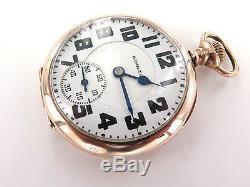 1935 Hamilton 992e D/roller 16s 21j Elinvar Spring Rose Gold Plate Pocket Watch