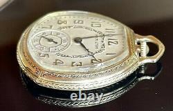 1936 Scarce Hamilton Van Buren, 912, Mdl 2, 17j, Pocket Watch in 14k GF Case