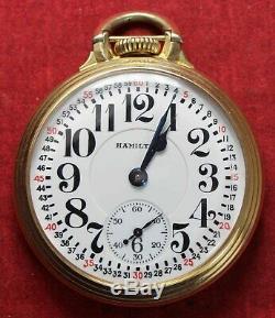1938 Hamilton 992E 16s 21j Pocket Watch RAILROAD GRADE BEAUTY Runs