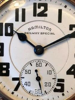 1940's Art Deco Hamilton Railway Special POCKET WATCH 21 Jewel Movement