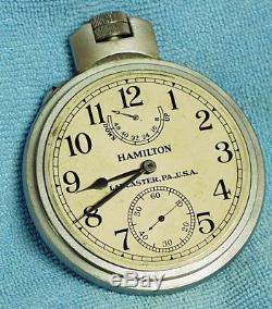 1942 HAMILTON MODEL 22 MARINE CHRONOMETER DECK WATCH US NAVY SHIP 21j 36 SIZE