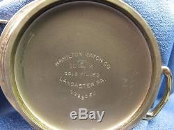 1942 Hamilton 992B 16s 21 Jewel Gold Filled Open Faced Pocket Watch #NG29