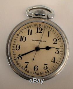 1942 Wwii Hamilton 4992b 22-jewel 16s Military 60-min. Pw V. G. Cond. Runs