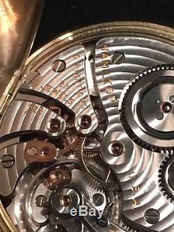 1947 14K Yellow Gold Hamilton Open Face Pocket Watch Gr 923 10S 23 Jewel