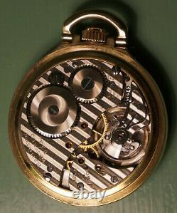 1950s era 16s Hamilton 992B 21J railroad pocket watch in RR Model 16 RGP Case