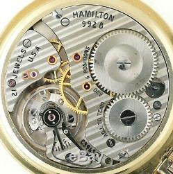 1953 Hamilton 992B Railroad Pocket Watch 21J With NICE Case & Dial RUNS