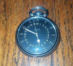 800 Silver Hamilton GCT 16s 22 Jewel 4992B AN5740 Navigation Pocket Watch WW2