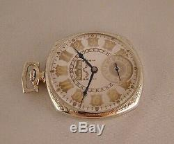 96 YEARS OLD HAMILTON 922 23j 14k GOLD FILLED OPEN FACE 12s GREAT POCKET WATCH