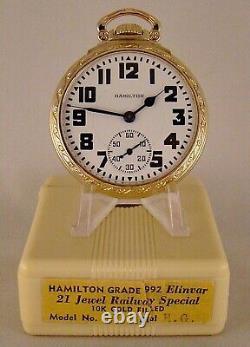 ANTIQUE HAMILTON 992E 21j 10k GOLD FILLED OPEN FACE 16s RAILROAD POCKET WATCH