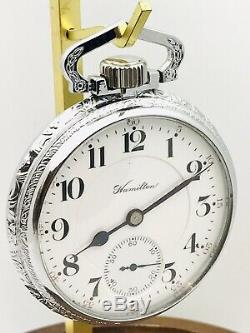 Amazing 1907 Hamilton 992 16S 21J Railroad Pocket Watch Salesman Case Accurate