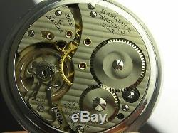 Antique 16s Hamilton 992B Rail Road 21j pocket watch. Made 1950. Stainless Steel