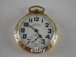 Antique 16s Hamilton 992B Rail Road pocket watch. Made 1945, With Original Box