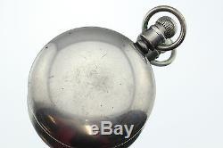 Antique 1911 Hamilton Sterling Silver 18s Railroad Grade 21 Jewel Pocket Watch