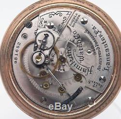 Antique 1913 Hamilton 948 Railroad Lever Set Pocket Watch Runs 18s Gold Filled