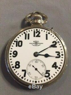 Antique 1925 Ball-Hamilton 999P 16s 21j 14K GF Railroad Pocket Watch-Runs Great