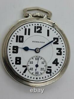 Antique 1930 HAMILTON 21J Railroad Grade 992 10K White Gold G. F. RR Pocket Watch