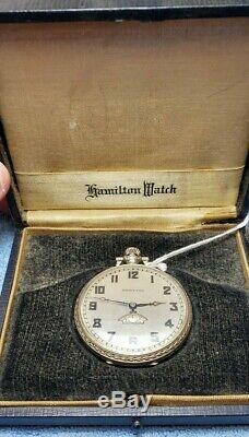 Antique 1930 Hamilton 912 17j 12s Second Meter 14k Gold Filled Original Box