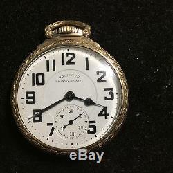 Antique 21 Jewels 16 Size Pocket Watch Hamilton 992-B Railway Special