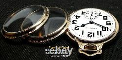 Antique Bar Over Crown Rose Gold Plated Display Case Pocket Watch Hamilton 992-B