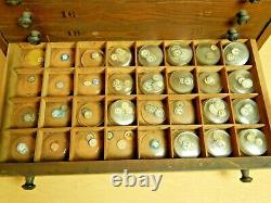 Antique VTF Crystal Cabinet with Huge Lot of glass pocket watch crystals French