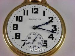 Antique original 16s Hamilton 992B Rail Road pocket watch 1942. 21j. Nice case