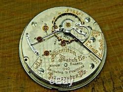 Antique pocket watch movement Hamilton Grade 940 Railroad Grade 21J motor barrel