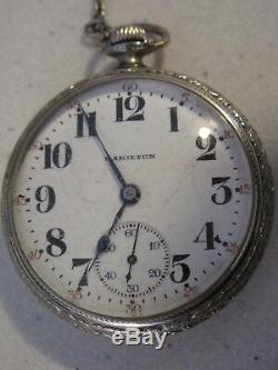Art Deco Hamilton Pocket Watch 974 Grade 17J 14K Gold Filled Orig Velvet Box Fob