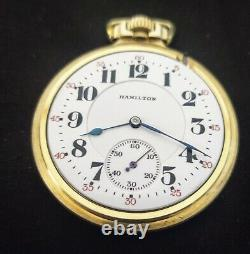 BEAUTIFUL 14K Gold Filled Hamilton 992 Railroad16 Size 21J Pocket Watch Running