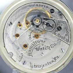 BIG 1910 Hamilton 17 Jewel Mechanical Pocket Watch RR Style Grade 924 Heavy 18s