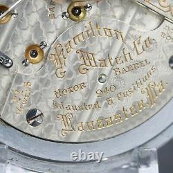 BIG 1910 Hamilton 21 Jewel RAILROAD Grade 940 Pocket Watch 18s Montgomery Dial